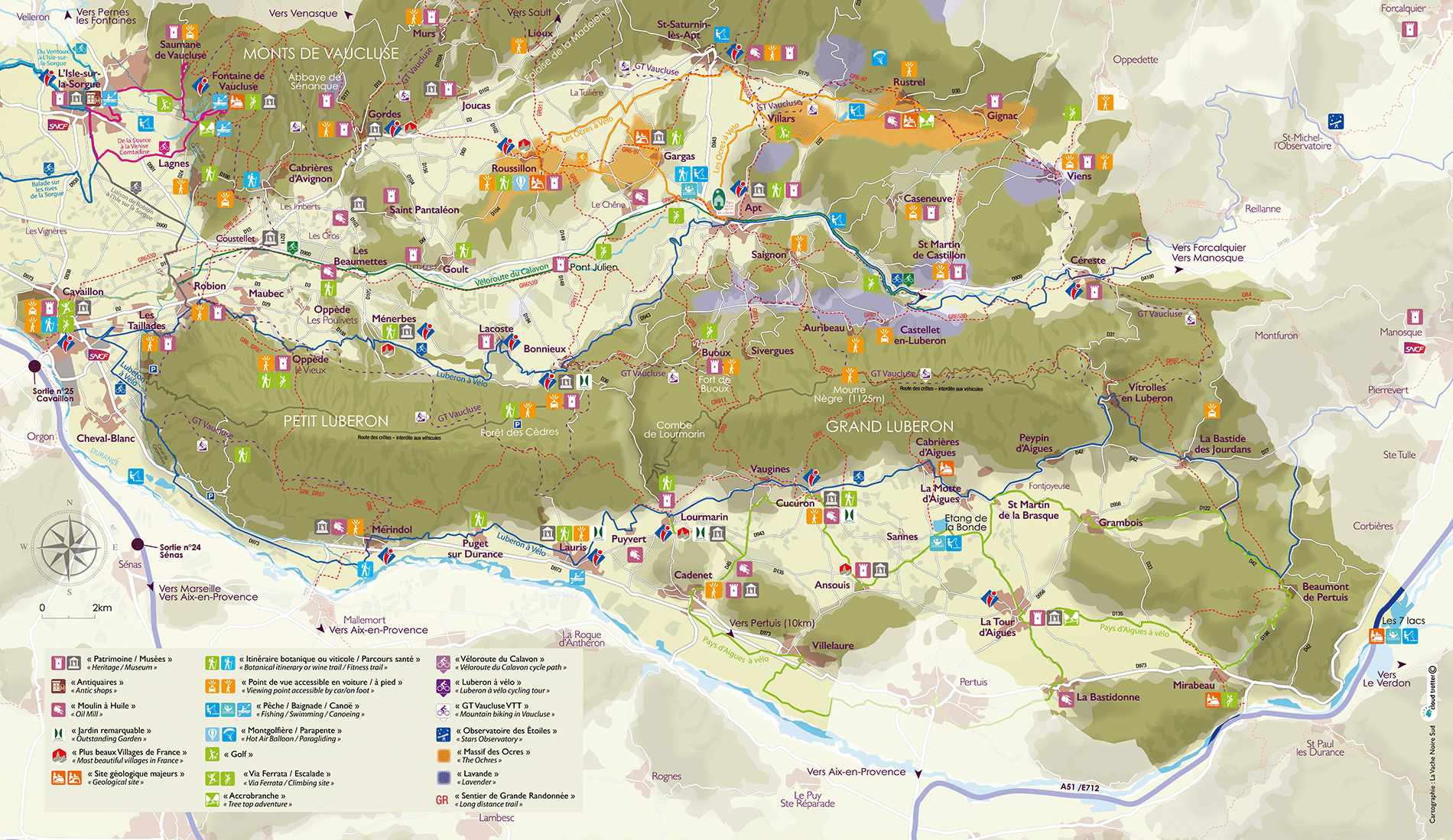 Carte détaillée du Luberon et de ses incontournables
