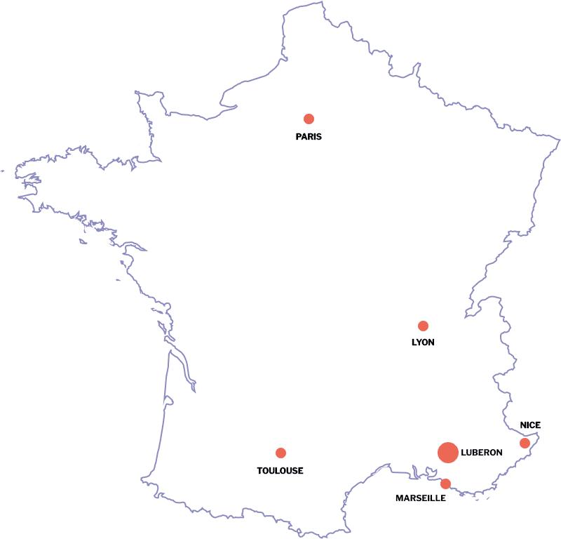 Carte région sud de la France