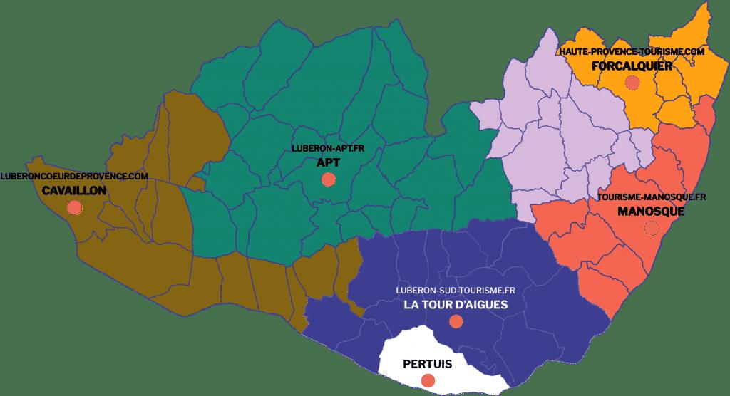 Carte des différentes Communautés de Communes du Luberon