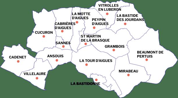 La carte des villages situées sur la région du Sud Luberon