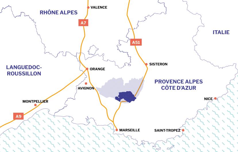 Région PACA, Sud de la France sur une carte